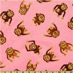 Kaufman Minky Cuddle Monkey Business Hot Pink
