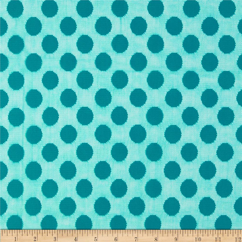 Jacquard Lace Large Dot Teal