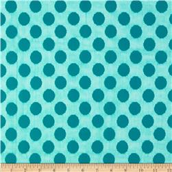 Jacquard Lace Large Dot Teal Fabric
