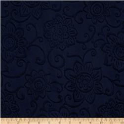 Minky Cuddle Spice Market Embossed Flower Navy
