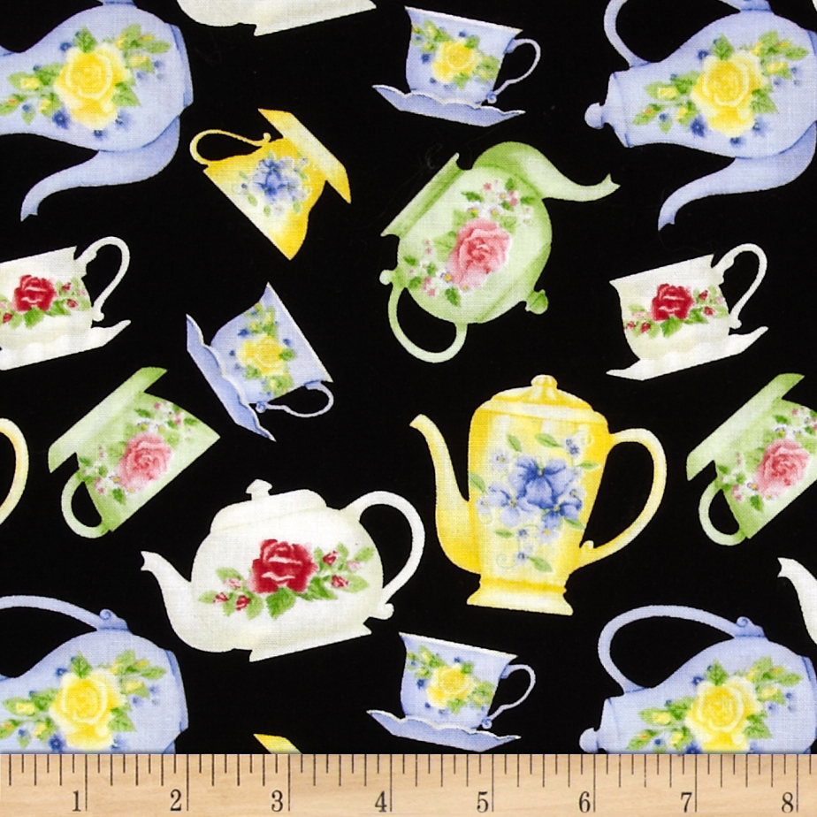 Tea for Two Tea Pots Black Fabric