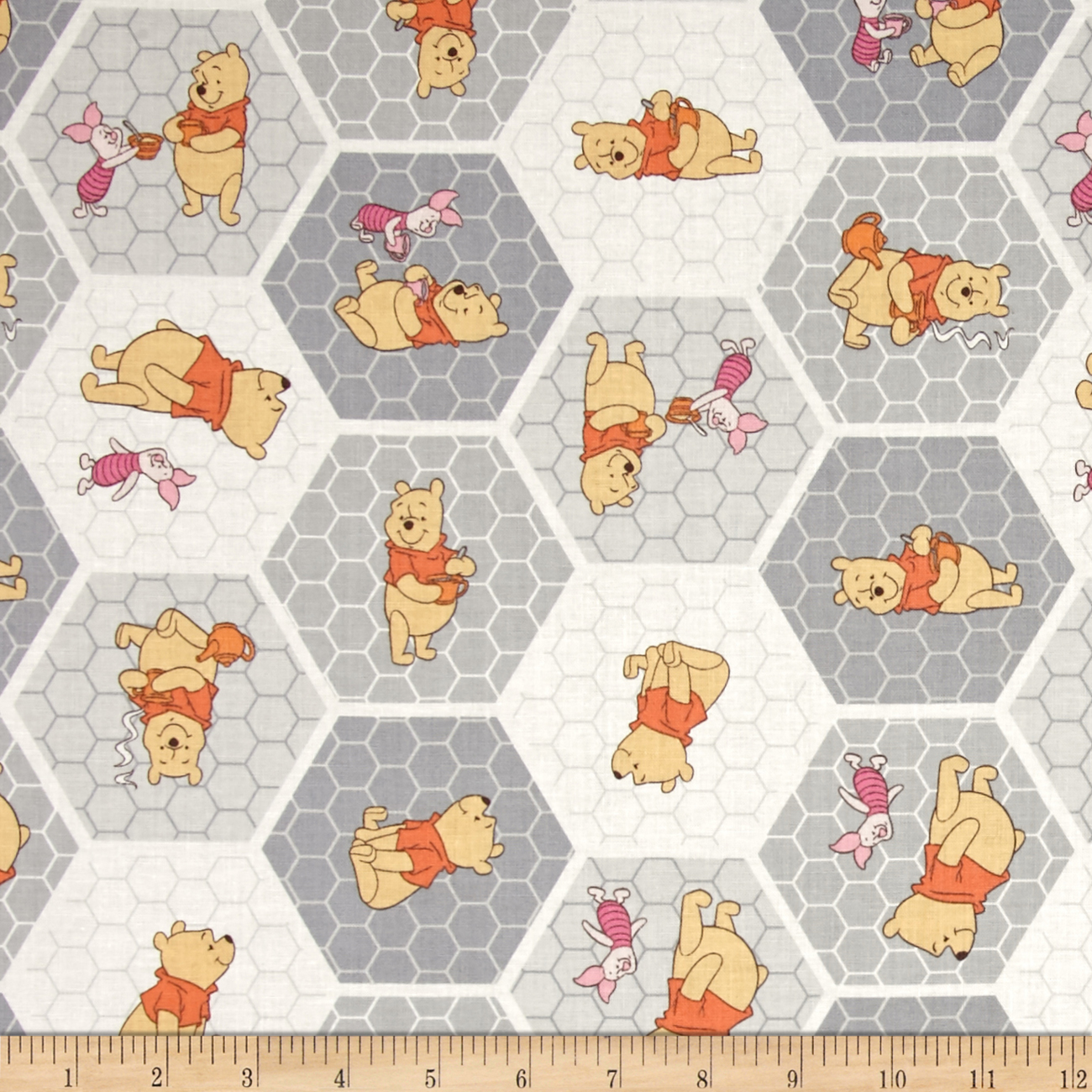 Disney Winnie The Pooh Tea Time Stone Fabric by Eugene in USA