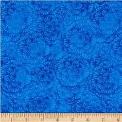 Timeless Treasures Color Crust Packed Floral Blue