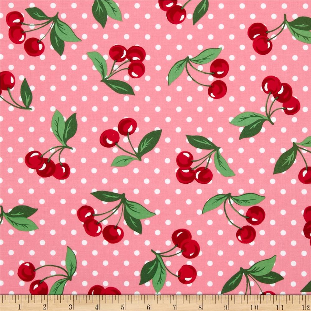 Michael miller cherry dot bloom discount designer fabric for Apparel fabric