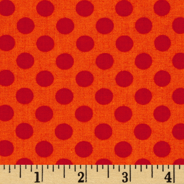 Kaufman Spot On Medium Dot Tangerine Fabric