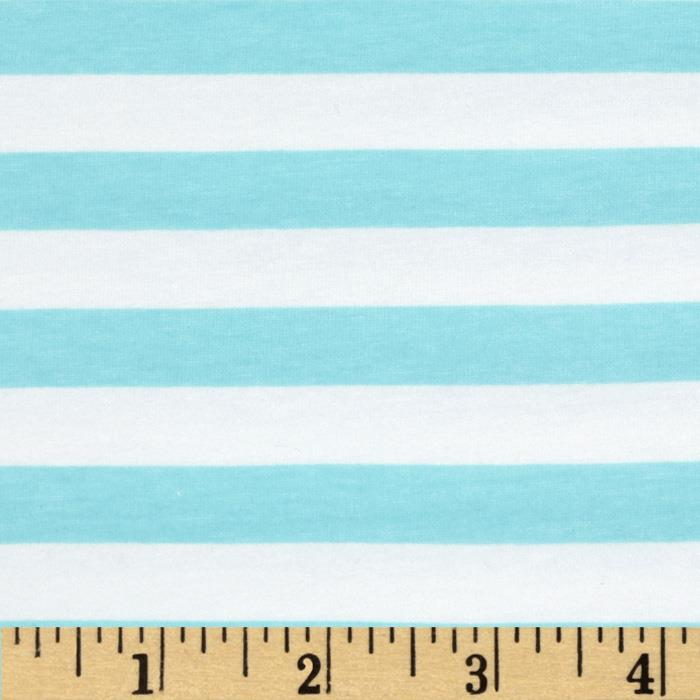 Riley Blake Cotton Jersey Knit 1/2'' Stripes Aqua Fabric By The Yard