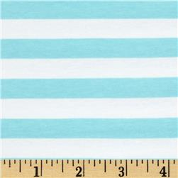 "Riley Blake Jersey Knit 1/2"" Stripes Aqua"