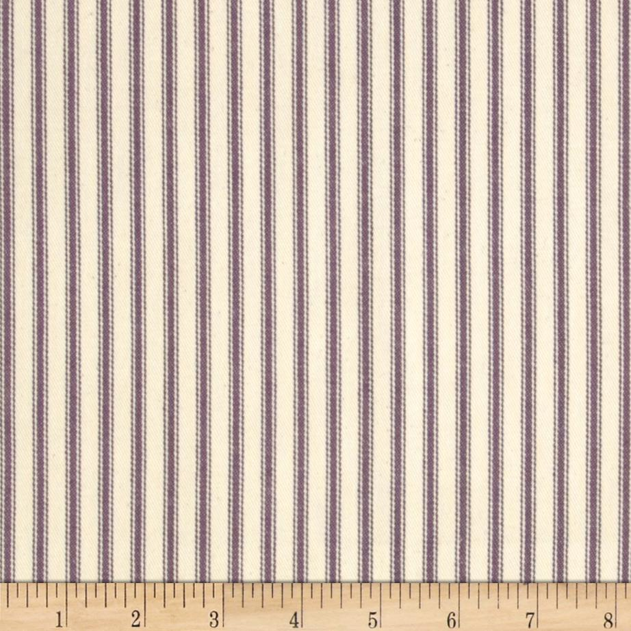 62'' Down-Proof Ticking Stripe Plum/Natural
