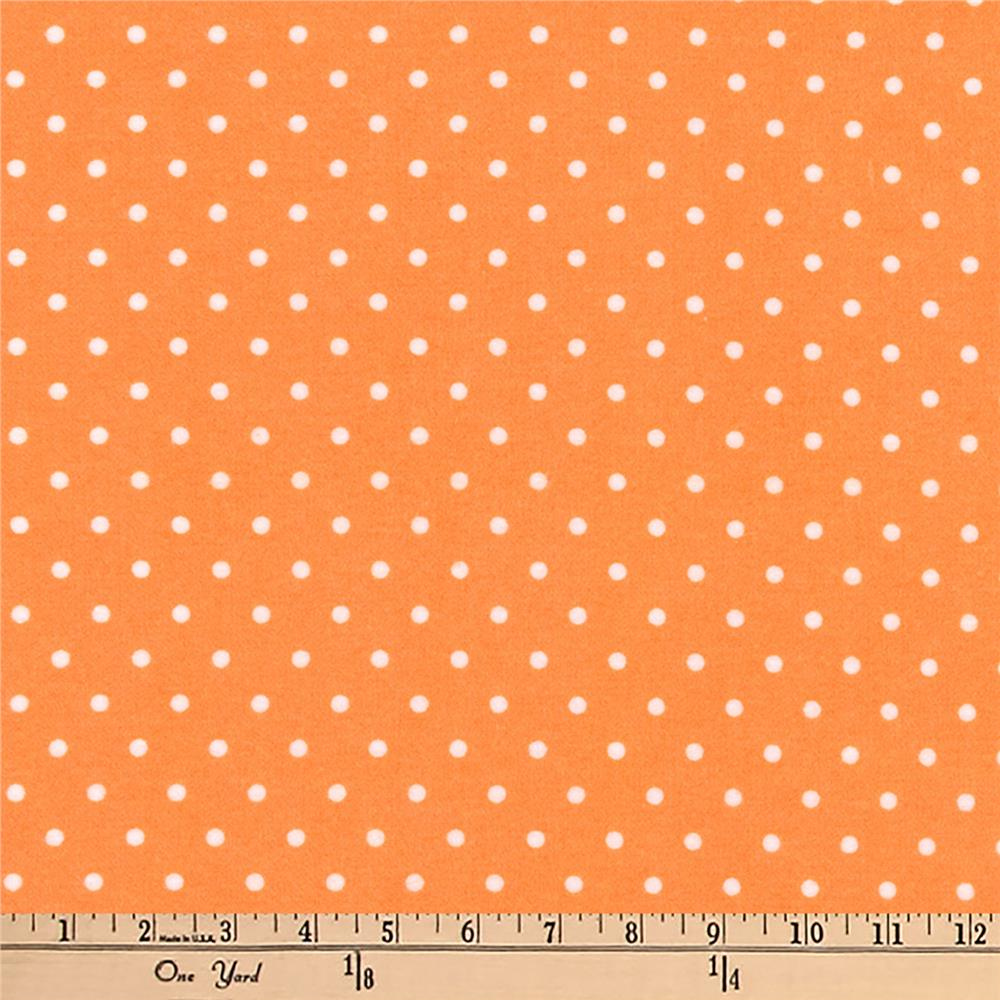 Kaufman Cozy Cotton Flannel Dots Orange Fabric