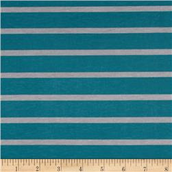 Riley Blake Stretch Cotton Jersey Knit Stripe Gray/Teal