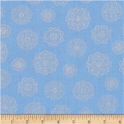 Timeless Treasures Dutchess Metallic Spaced Medallions Sky