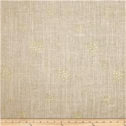 60'' Sparkle Snowflake Burlap Oyster Fabric