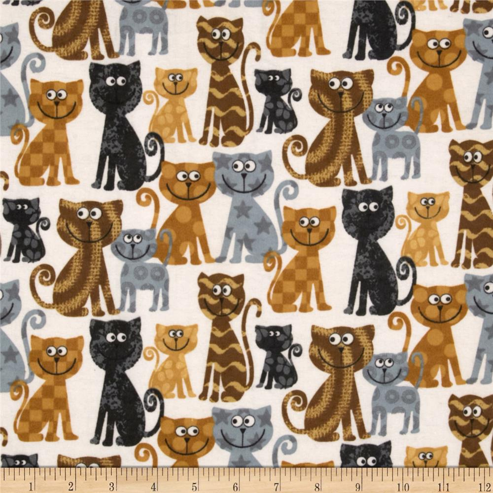 Comfy Flannel Cats Cream