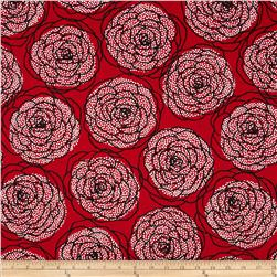 Essentials 8 Border Dotty Roses Red Fabric