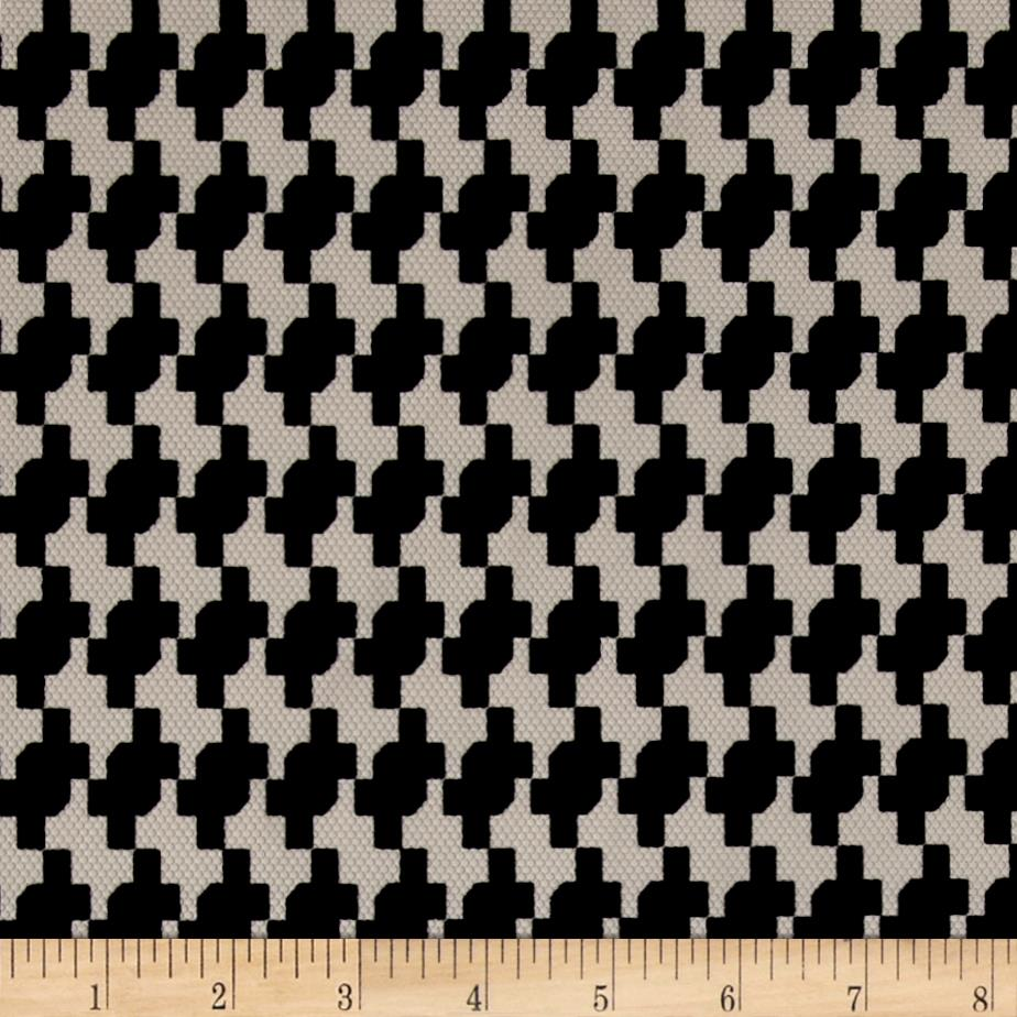 Pique Double Knit Black Houdstooth on Ivory