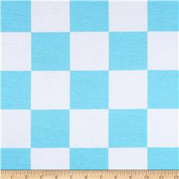 Spun Poly Double Knit Checks Turquoise/White