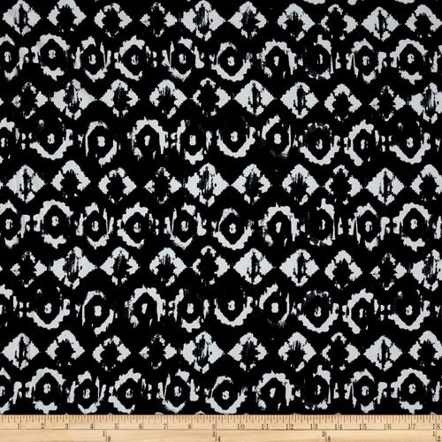 Stretch ITY Jersey Knit Ikat Black White