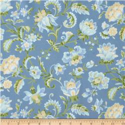 American Bouquet Flannel Large Floral Blue