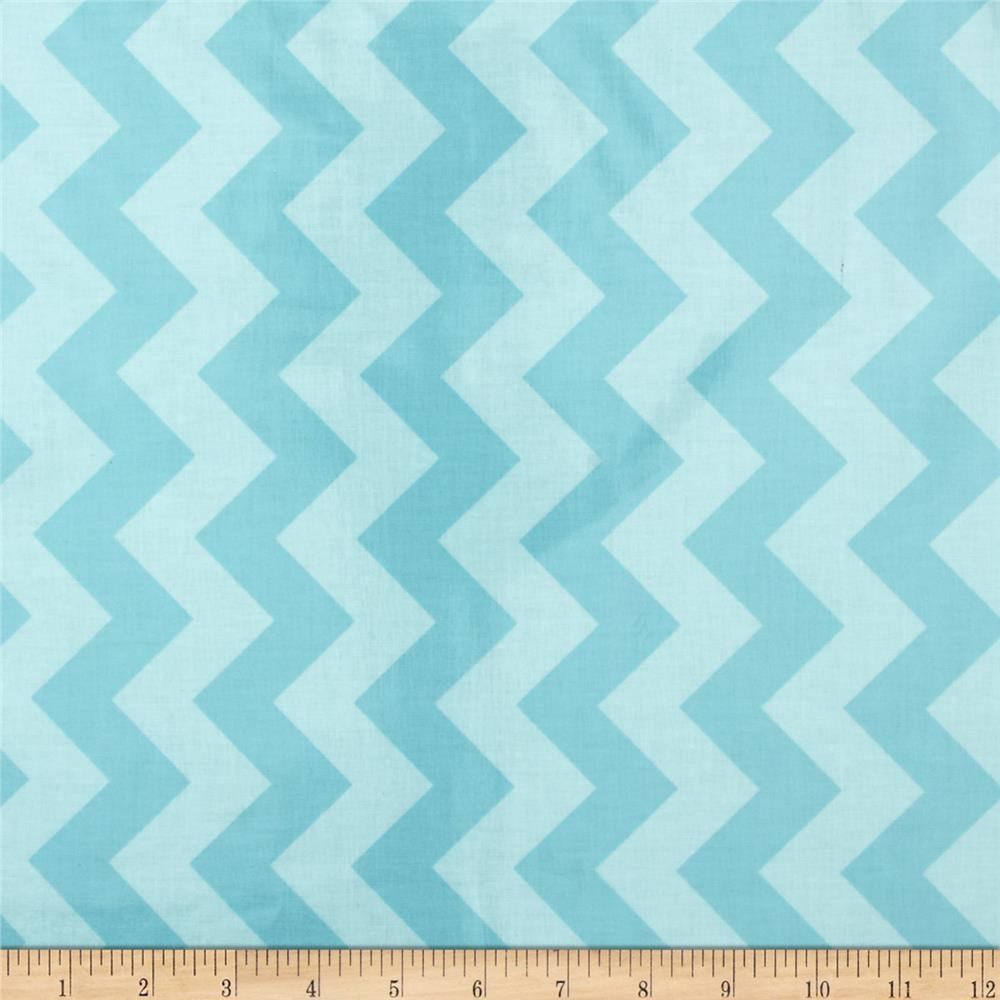 Riley Blake Laminated Cotton Medium Chevron Tone on Tone Aqua