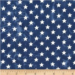 Island Batik Quilted in Honor Batik Stars Navy/Off White