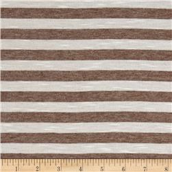 Jersey Knit Caramel Stripes on White