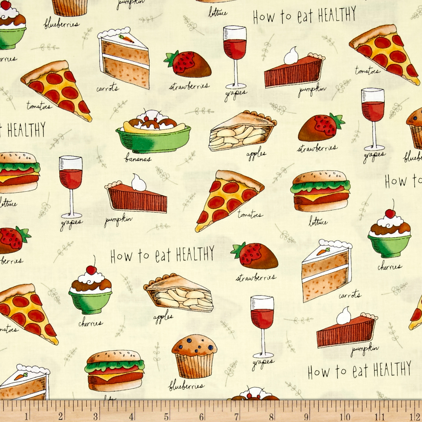 Healthy Eats How To Eat Healthy Toss Light Yellow Fabric by Quilting Treasures in USA