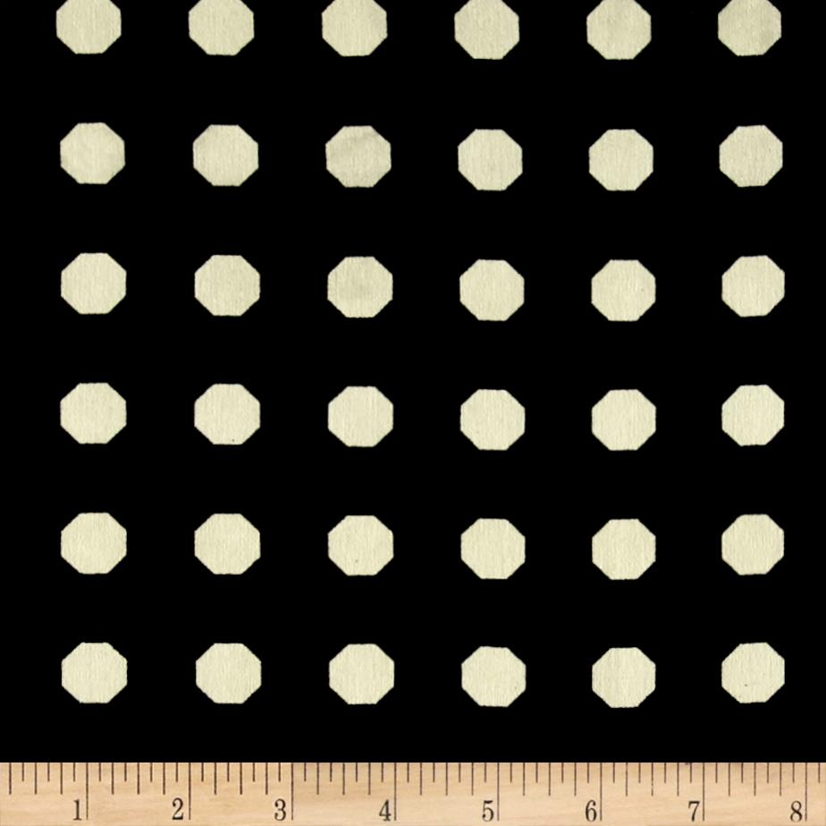 Europa Silky Polyester Satin Shirting Cream Octagons on Black  Fabric