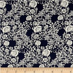 Hampton Court Cotton Shirting Floral Print Navy