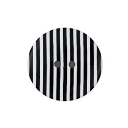 "Dill Novelty Button 1-3/8"" Black Stripe on White"