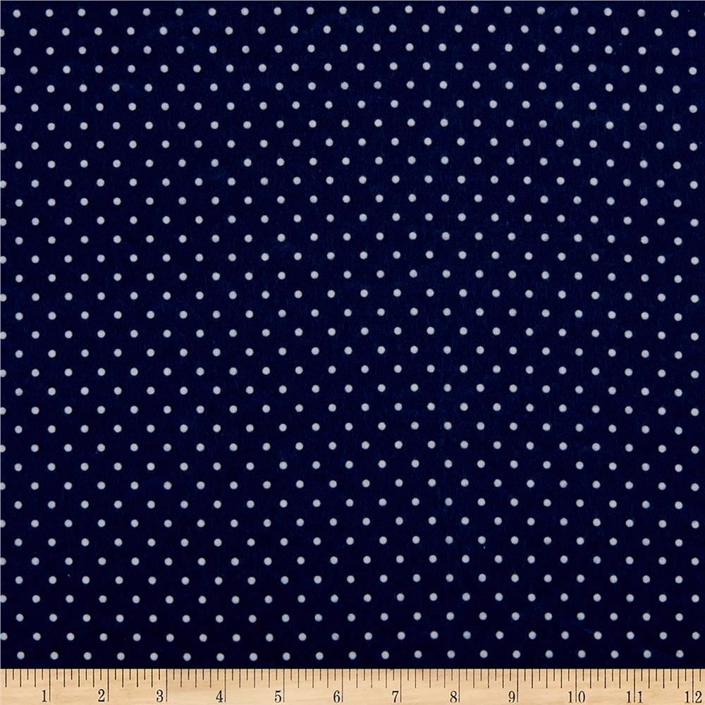 Kaufman Cozy Cotton Flannel Small Dot Navy