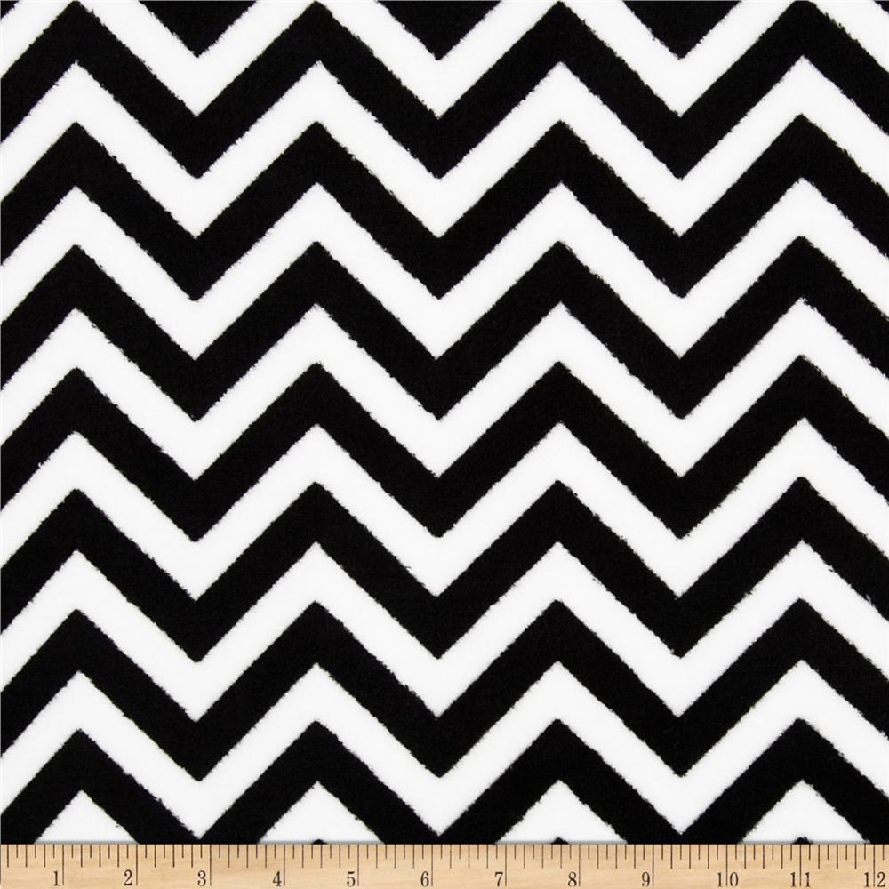 Fleece Chevron Black/White Fabric By The Yard