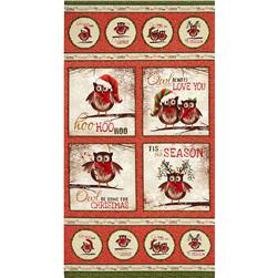 "Owl Be Home for Christmas Metallic 24"" Panel Red"