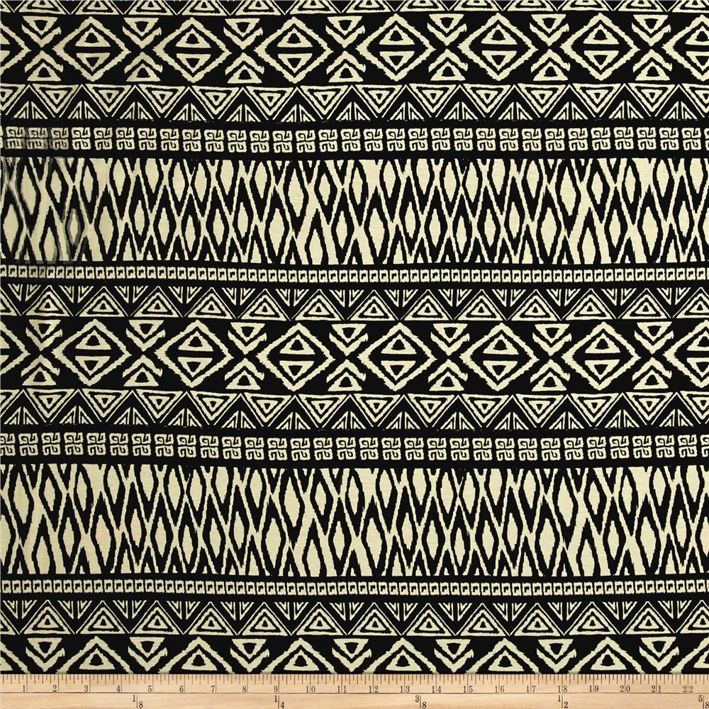 Rayon Spandex Jersey Knit Tribal Triangles Black/Cr?me Fabric