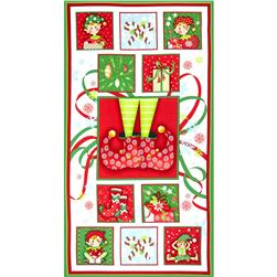 Naughty Or Nice Panel White/Red Fabric