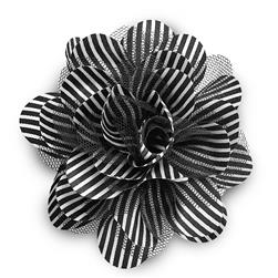 "5"" Striped Flower Brooch And Hair Clip Black/White"