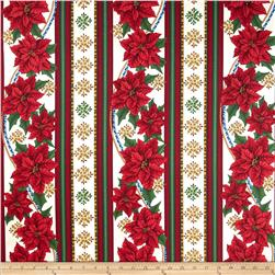 Christmas Splendor Poinsettia Stripe Cream Fabric