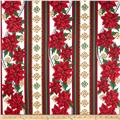 Christmas Splendor Poinsettia Stripe Cream