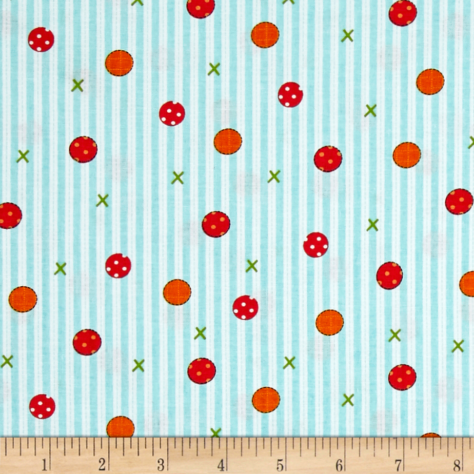 Farm Friends Stripes Aqua & White Fabric by Exclusively Quilters in USA