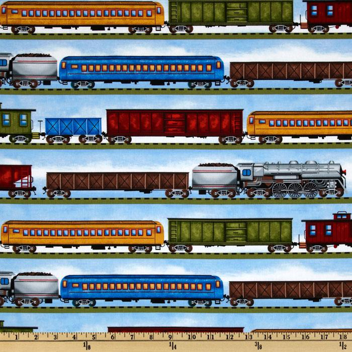 Timeless Treasures Planes, Trains & Automobiles Train Stripe Blue