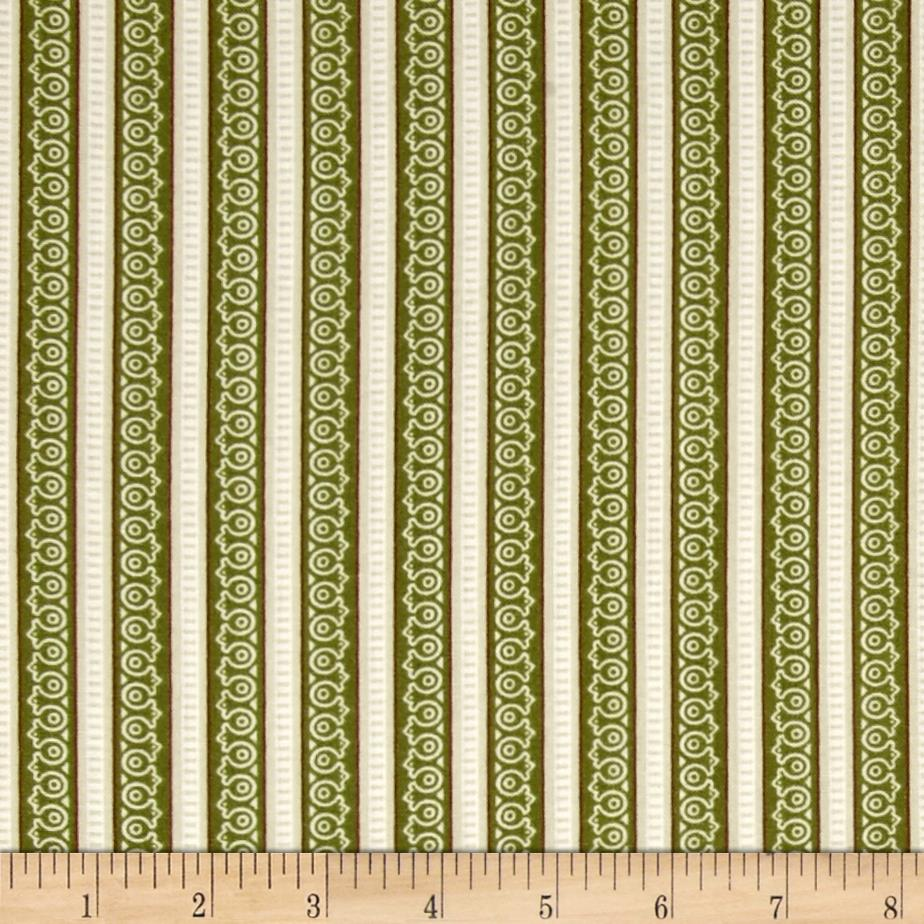 Feather Your Nest Ticking Stripe Green/Cream