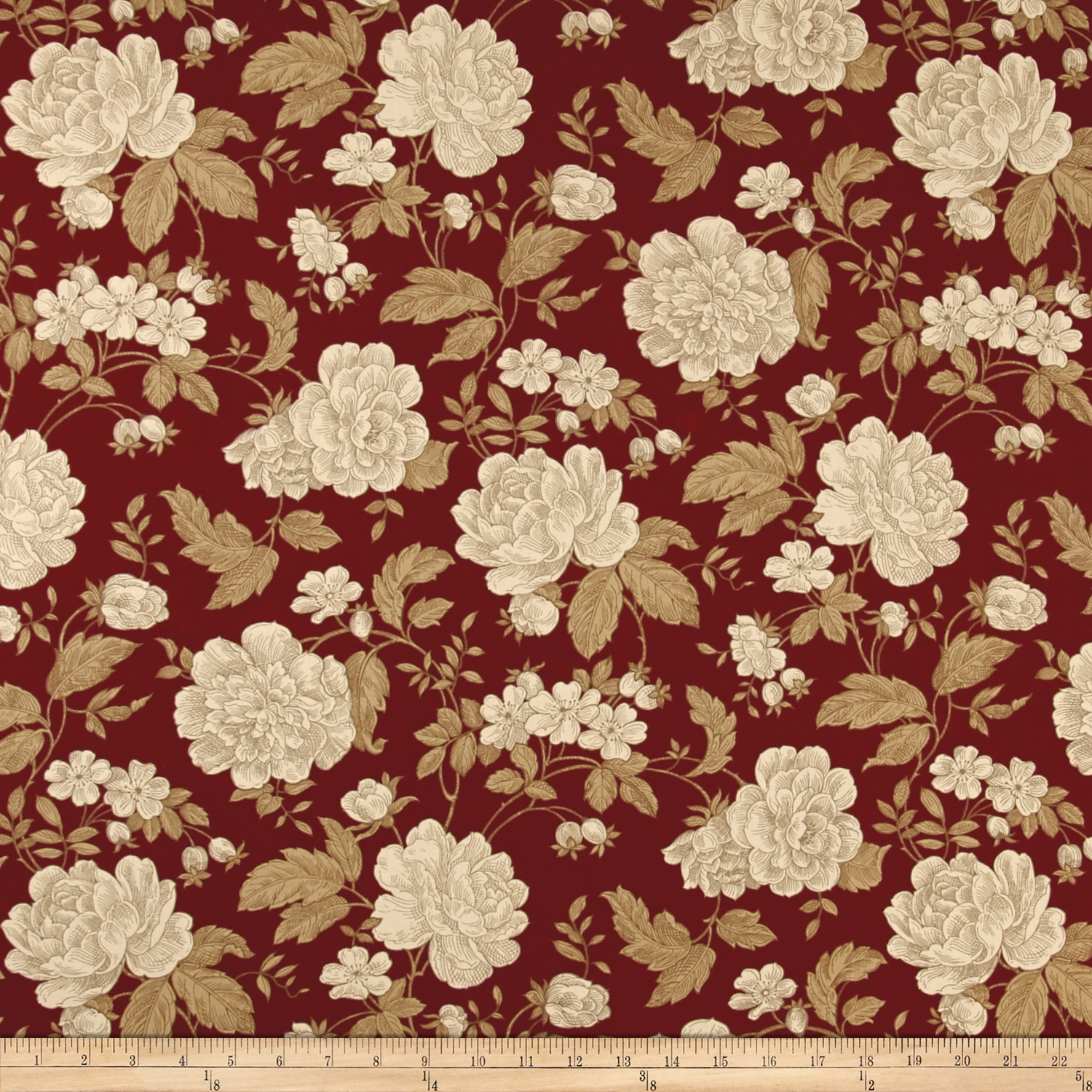 Ansley Home Decor Cotton Duck Floral Burgundy Cream