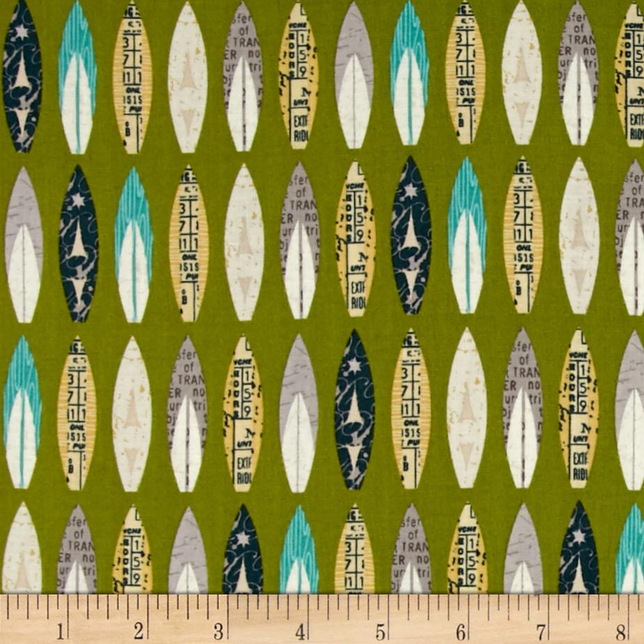 Riley Blake Offshore Surfboards Green