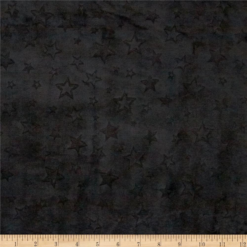 Shannon Minky Embossed Star Cuddle Black