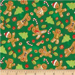 Season's Greeting Gingerbread Men Green