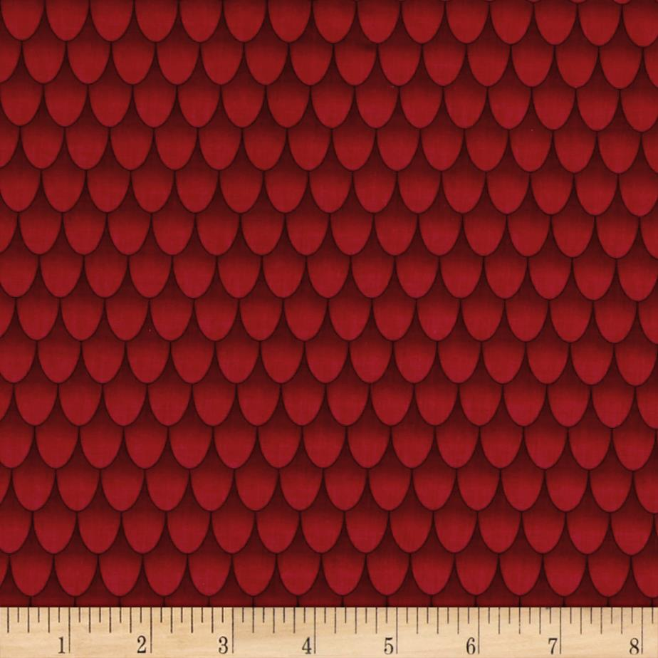 Under the sea fish scales red discount designer fabric for Fish pattern fabric