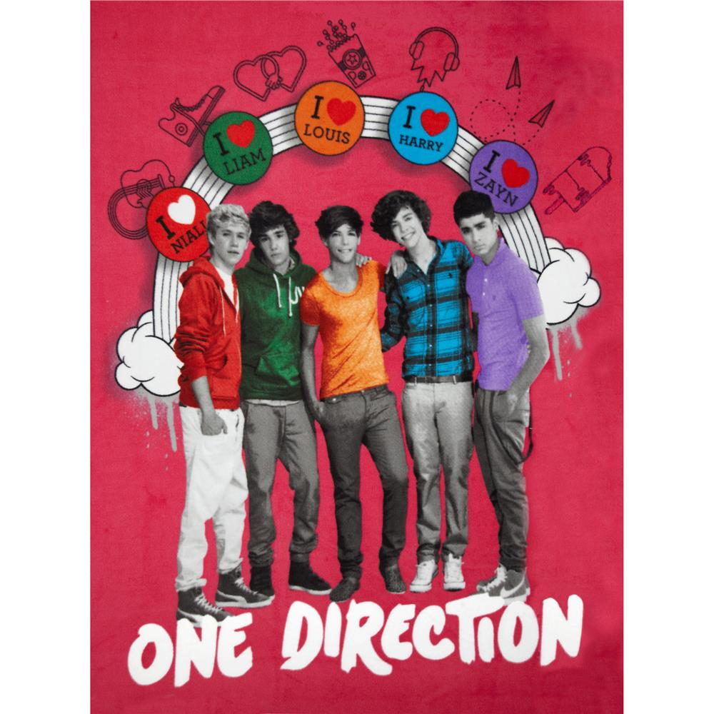 One Direction Fleece Rainbow Panel Hot Pink