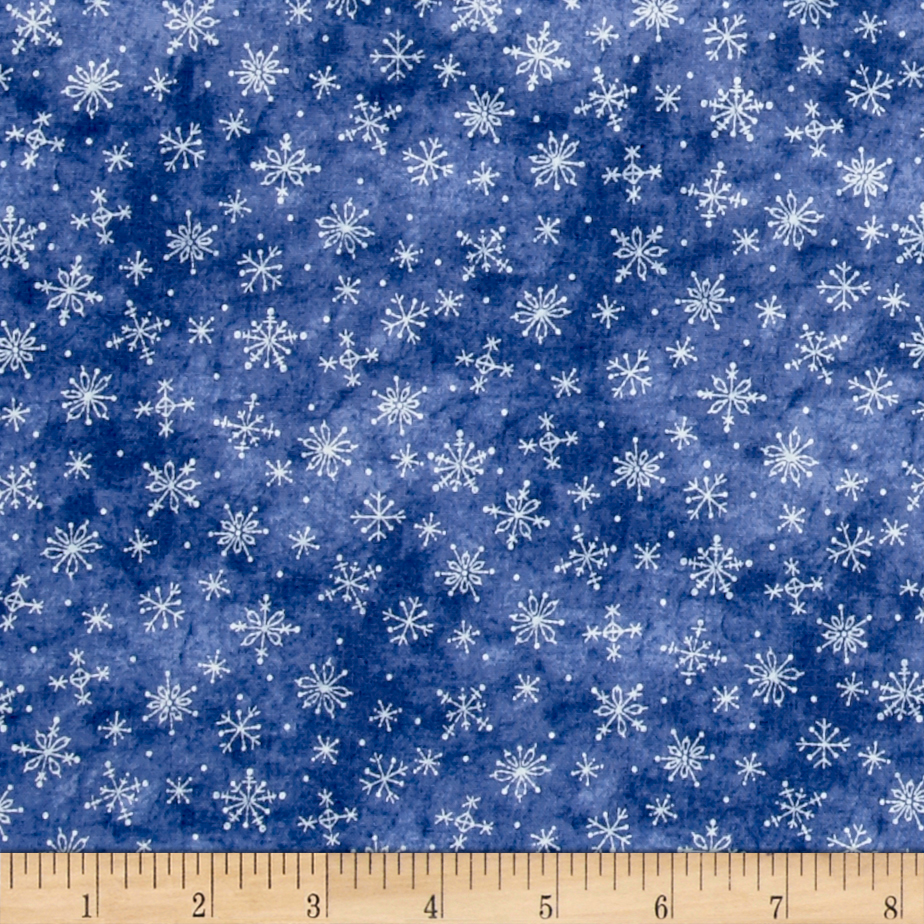 Just Be Claus Stitched Snowflakes Blue Fabric by E. E. Schenck in USA