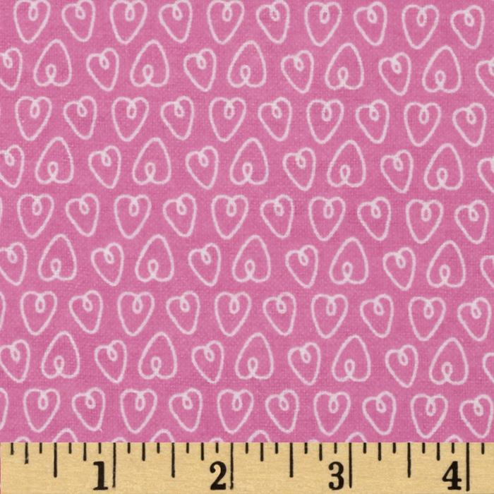 Michael Miller Baby Flannel Petite Hearts Pink