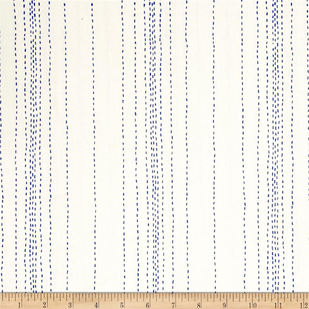 Andover Printed Chambray  Stitch Lines White/Blue