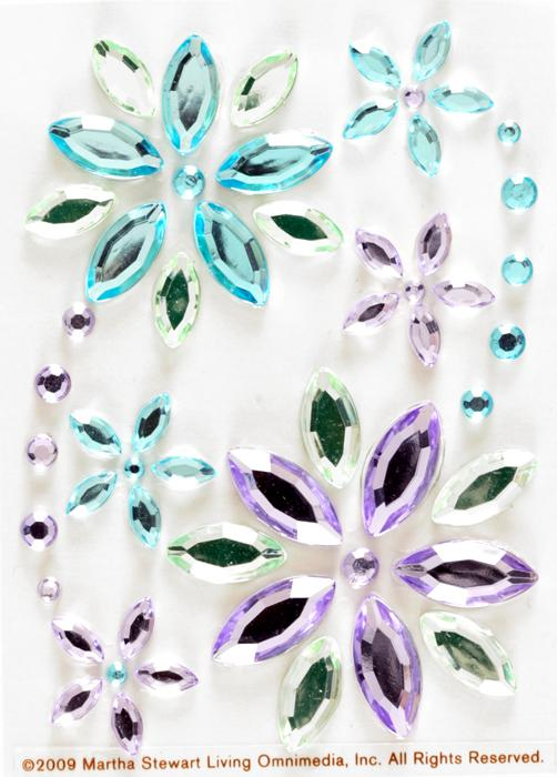 Martha Stewart Crafts Flower Gem Stickers Blue/Lavender